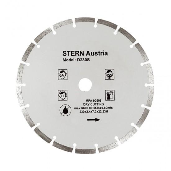 Disc diamantat segmentat pentru polizor unghiular Stern D230S, 230MM